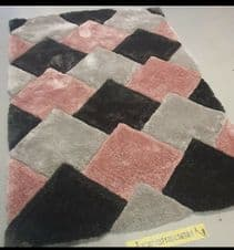 3D RUGS HAND CARVED APPROX 8X5FT 160X230CM GREAT QUALITY RUG SILVER-BLUSH PINK